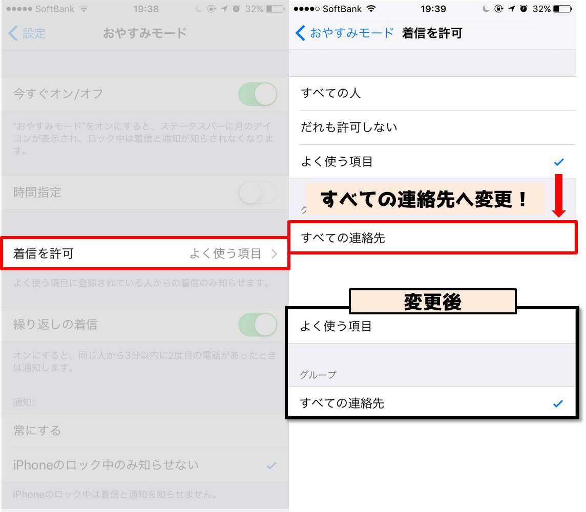 iPhone-着信許可をすべての連絡先へ変更